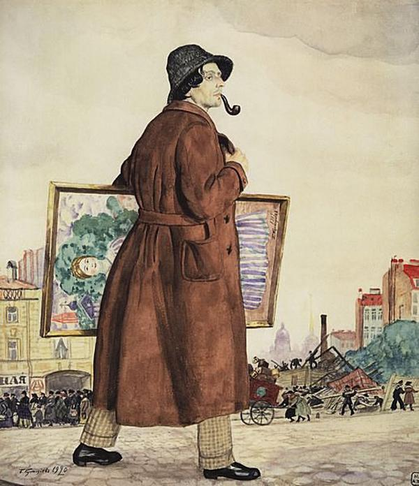 Portrait of Isaac Brodsky, by Boris Kustodiev. (1920).
