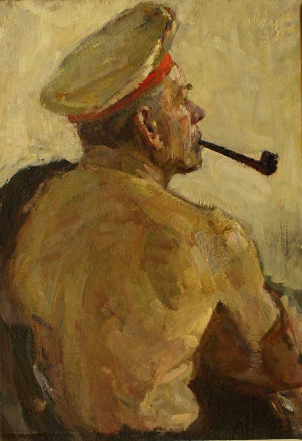 Man smoking pipe, by Pyotr Sventakhovsky.