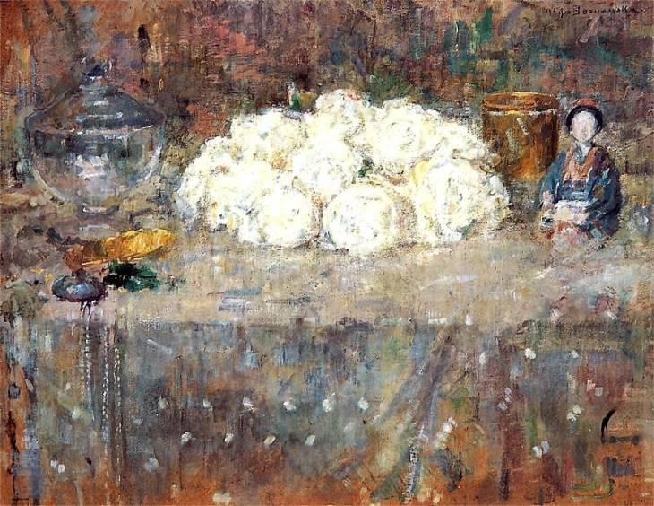 Still life with white flowers and Japanese doll, by Olga Boznańska. (1918).
