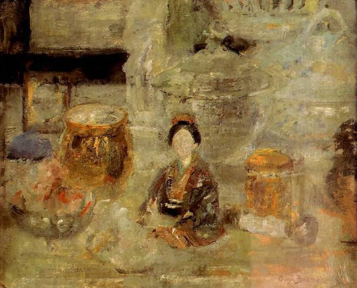 Still life with Japanese doll, by Olga Boznańska. (1920).