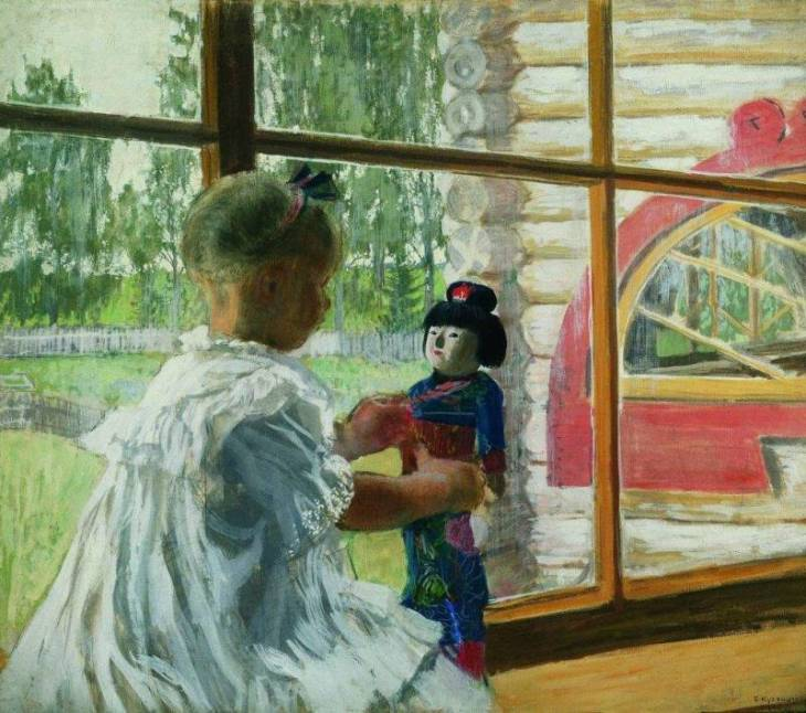 Japanese doll, by Boris Kustodiev. (1908).