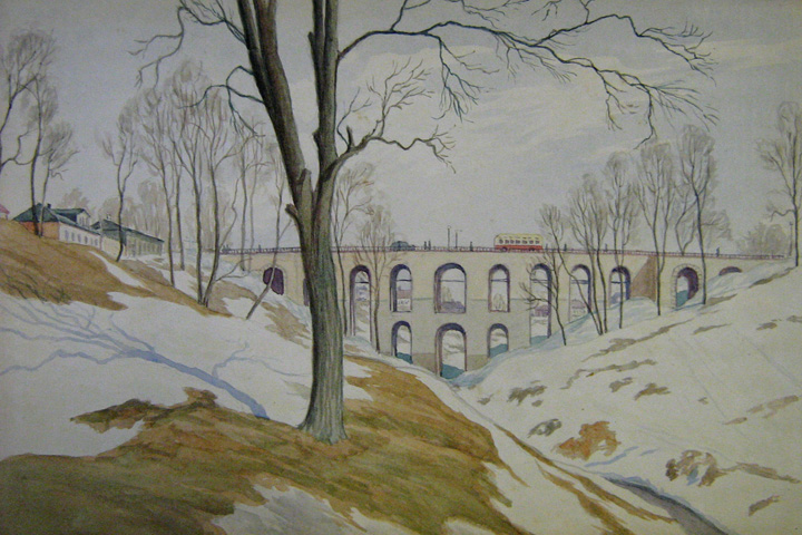 Stone bridge in Kaluga, by Leonid Mezhekov. (1950).