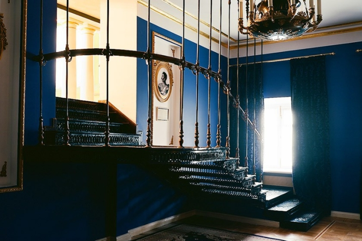 Old cast-iron staircase leading to the library