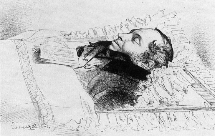 Pushkin on his deathbed, by Fyodor Bruni.