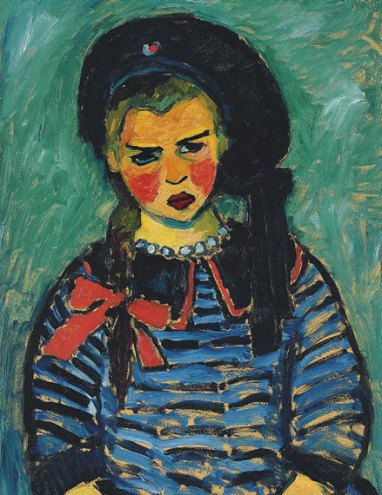 Girl with red ribbon. (1911).