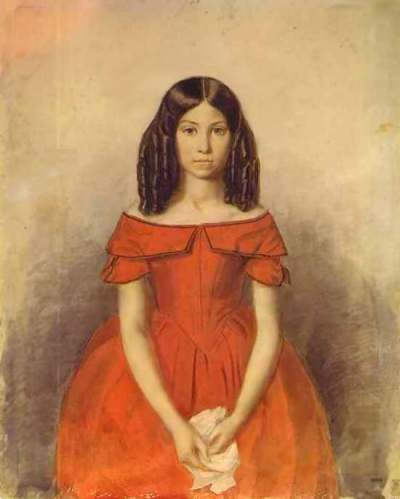 Portrait of Nadezhda Zhdanova in childhood. (1846-47).